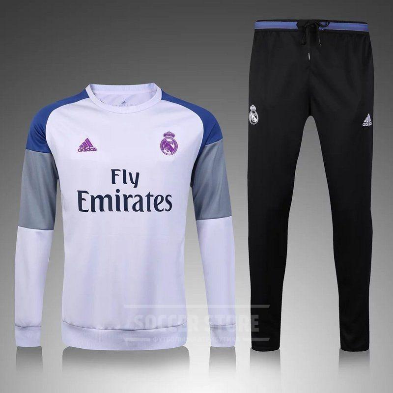 1400efe2 Реал Мадрид спортивный костюм детский 2016-17 белый (свитер+штаны ...